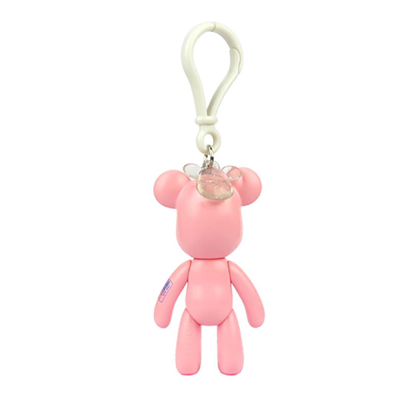 Cartoon Shaped Bear Animals Model Toys PVC Keyring Action Figure Bag Keychain for Girls
