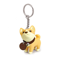 OEM/ODM 3D Plastic PVC Injection Personalised Cartoon Shaped Dog Animal Action Figures Toys Keychain
