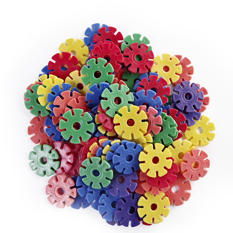 Intelligence Toy Rainbow Snow Flakes 100PCS Educational Brain Building Toy Interlocking Plastic Construction Connect Set Kids Toys