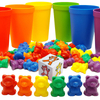 Bear Counting Math Manipulatives Plastic Action Figure Toy Set for Kids Learning Educational Toy
