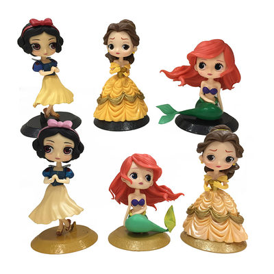 Q Version Anime Princess Snowwhite Mermaid Cake Toppers Birthday Action Figures