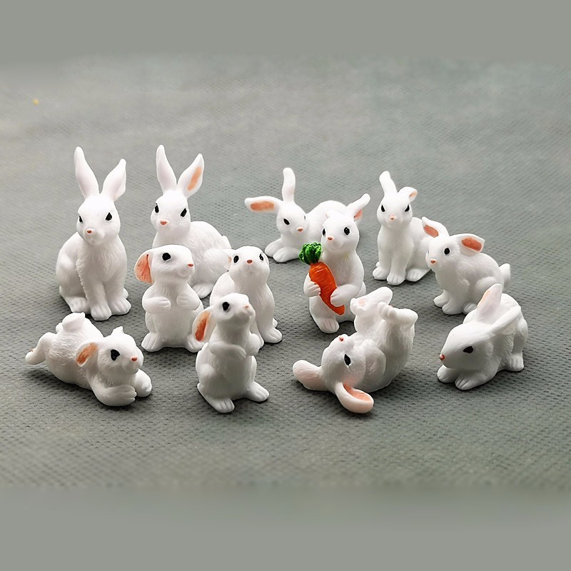 Make Your Own Design Cute Plastic/PVC Miniature Animals Bunny Family Rabbits Anime Action Figure for Fun