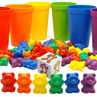 Plastic Bear Counters and Dice Math Bears Game Rainbow Counting Bears Toys with Matching Sorting Cups